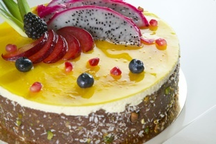 Pineapple in between layers of coconut and mango:passion fruit mousse ...