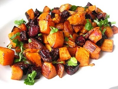 roasted beets & sweet potatoes - can be served over a bed of arugula ...