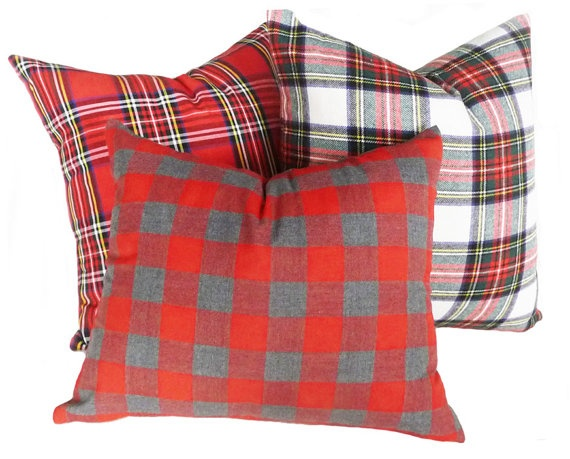 Red Grey Plaid Pillows, Decorative Throw Pillow Cover, Tartan Plaid,