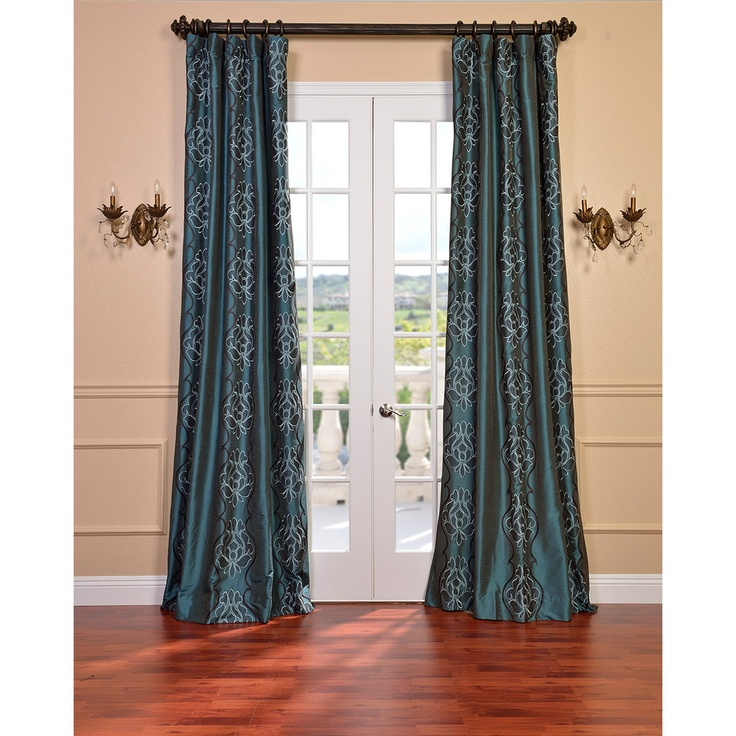 tulon ocean faux silk embroidered 96 inch curtain panel