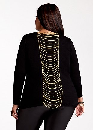Sweater With Chain Trim 16