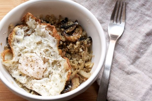 thyme Mushroom-Quinoa Saute from @Cara K / Big Girls, Small Kitchen #recipe #oliveoil #quinoa