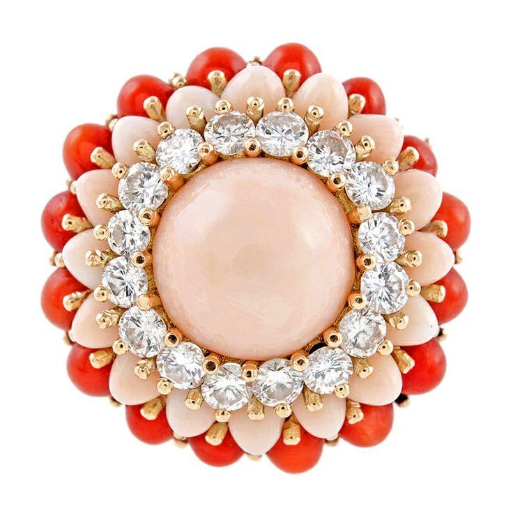 Diamond, розовый и Red Coral и 18-каратного желтого золота Кольцо c.1950 Dome 'ы
