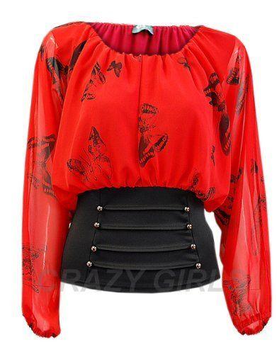 Ladies Girls wear Corset Style Plain Butterfly Polka Dot Print Gypsy ...
