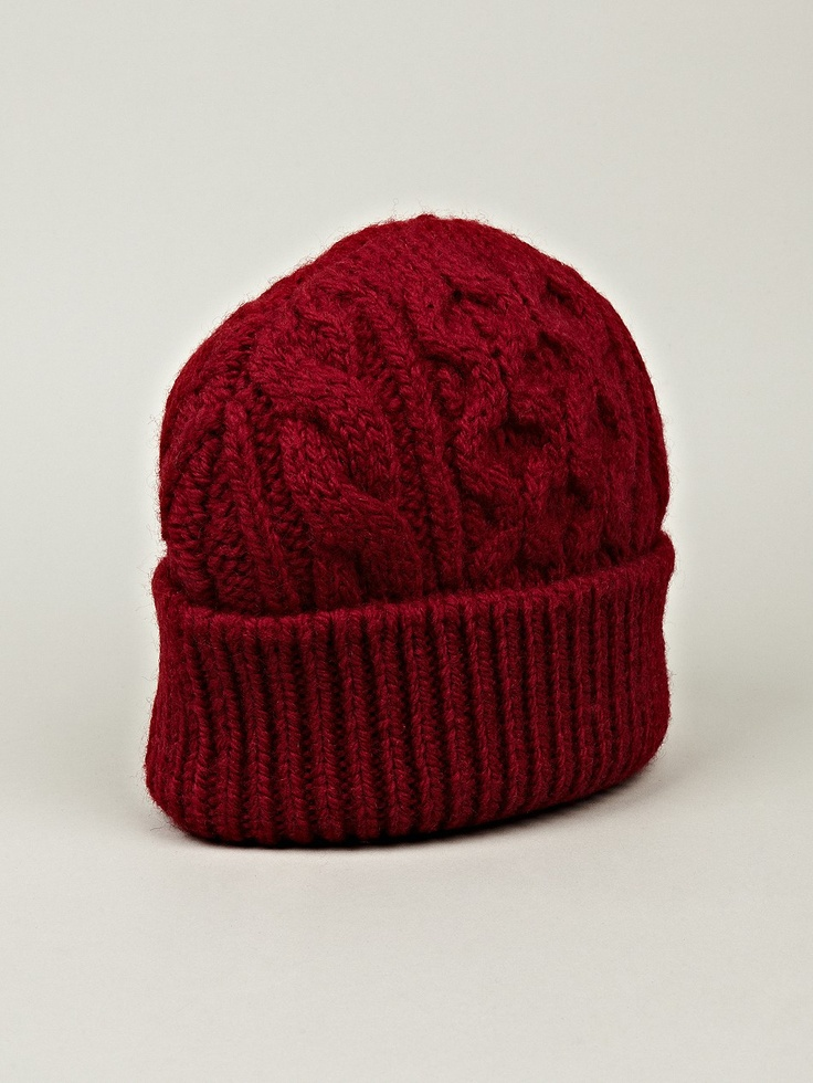 Maison Martin Margiela 14 Men's Chunky Knit Hat in red at oki-ni