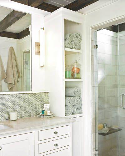 Cool  Storage  Bathroom  Pinterest  Towels Towel Storage And Built Ins
