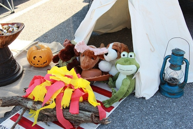 Trunk or Treat idea- Teepee with a stuffed animal campout and a campfire made from crepe paper