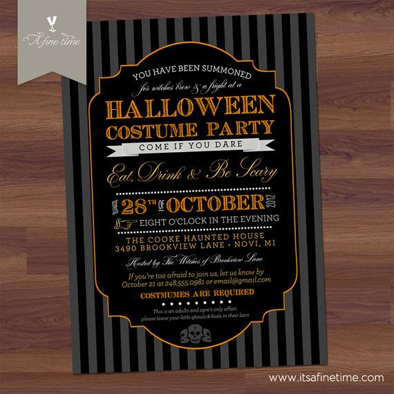 Halloween party invitation spooky costume party for Vintage halloween party invitations
