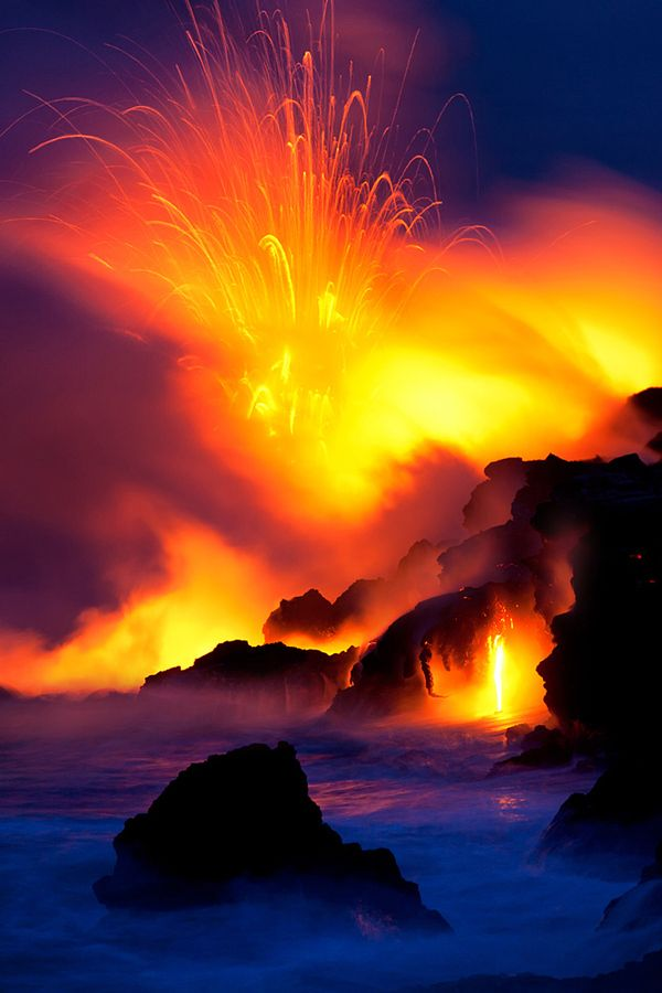 Lava exploding in amazing color.