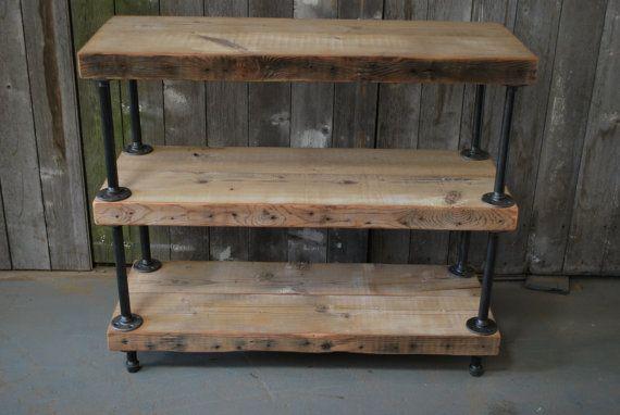 Industrial reclaimed wood shelves 3 shelves for Shelves made from reclaimed wood