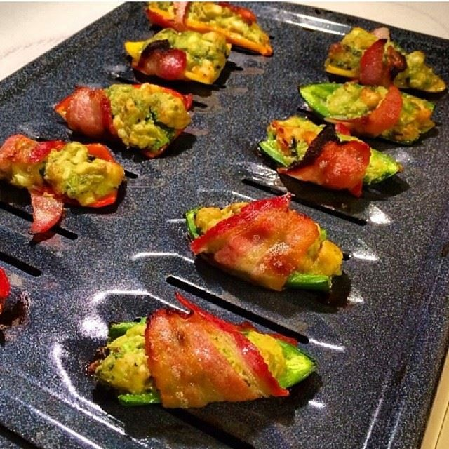 and sweet peppers and stuffed them with diced shrimp, avocado ...