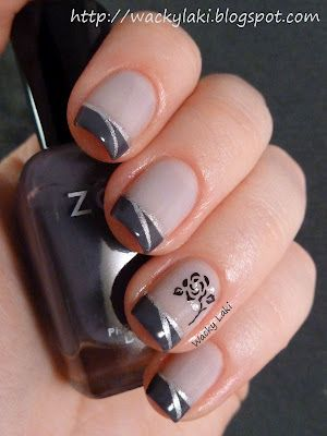 grey tips, black flower, silver trim - Zoya Kelly french mani.