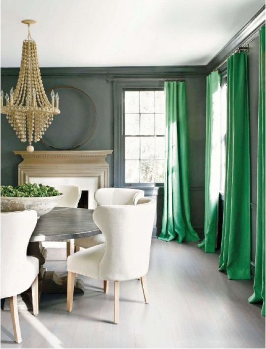 who knew emerald green drapes could make a room look so good?