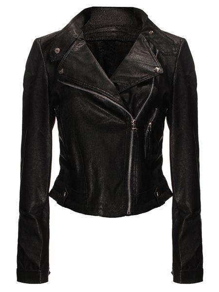Wholesale Zanzea Rivet Zipper Black Leather Jacket