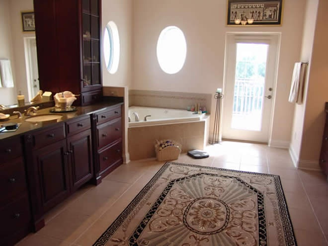 Area rug in master bathroom kitchen baths pinterest for Master bathroom rugs