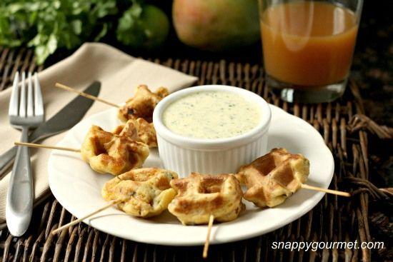 Caribbean Shrimp Stuffed Waffles & Mango Cilantro Dip | Recipe