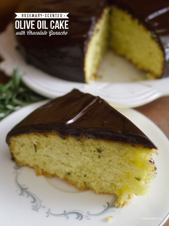 Rosemary Olive Oil Cake with Chocolate Ganache -Momo