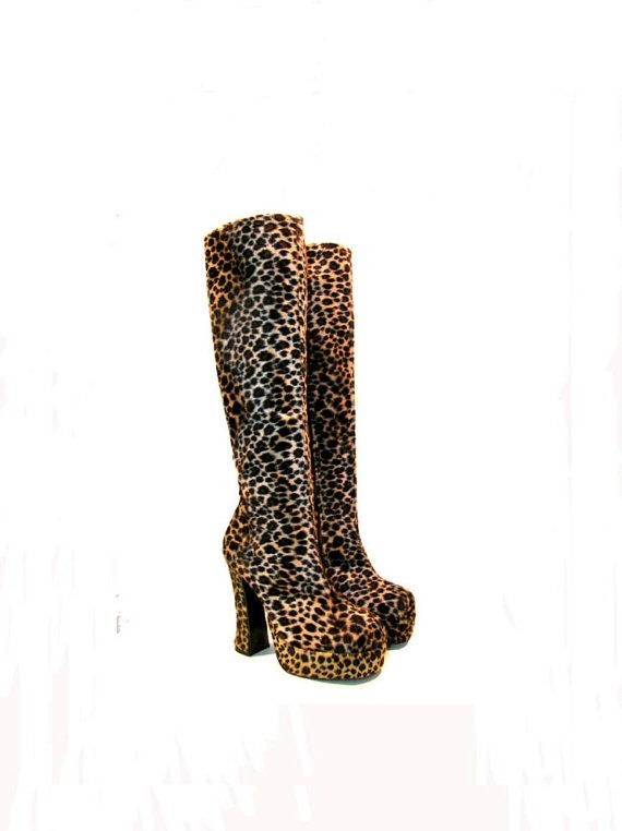 Vintage Knee High Leopard Faux Fur Platform by Atomicfireball, $135.00
