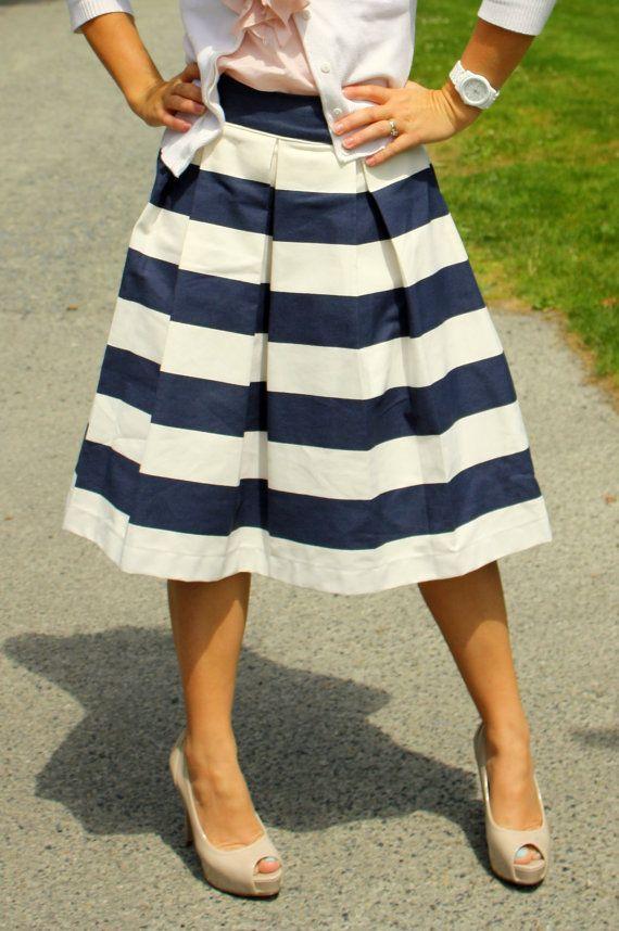 navy blue awning striped skirt