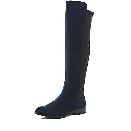 navy stretch back knee high boots 163 60 00 style