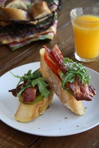 Bacon, Lettuce and Tomato French Toast...mmmm. www.acommunaltable.com ...