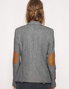 Maison Scotch Tweed Wool Mix Blazer With Contrast Elbow Patches