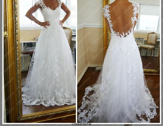 Similiar Open Back Gown With Lace Keywords
