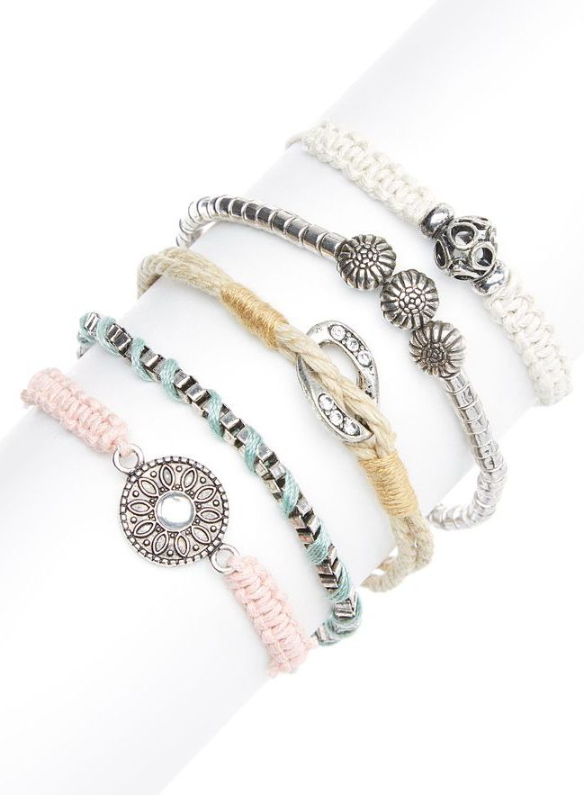 Silver & Pink Arm Party Bracelet Set