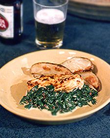Rick Bayless's Chipotle Chicken and Creamy Spinach