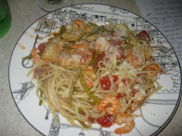 Shrimp With Pasta, Asparagus, Artichoke & Diced Tomatoes. Closest ...