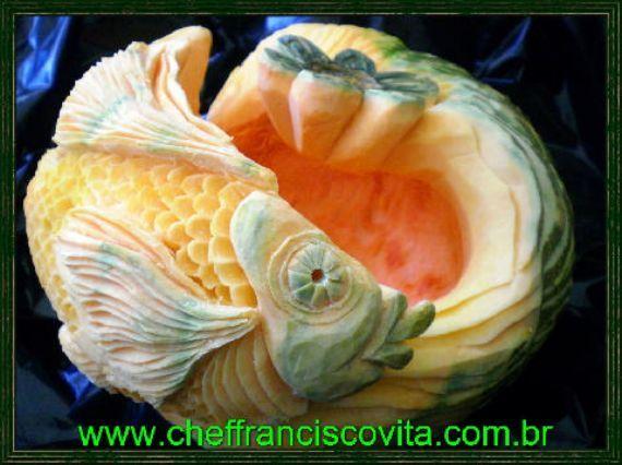 Pumpkin fish carved art pinterest