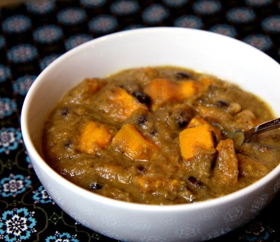 Black and white bean soup with sweet potatoes #recipe #vegetarian