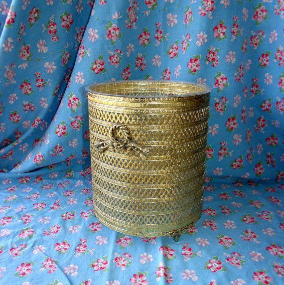 Vintage Gold Filigree Waste Basket Decorative Small