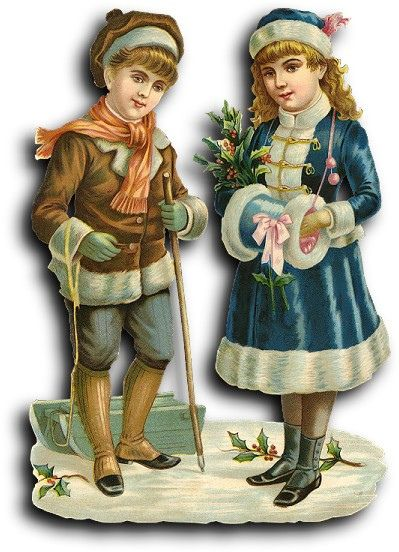 Victorian scrap: Boy and girl in winter clothes! by Antique Photo Album, via Flickr