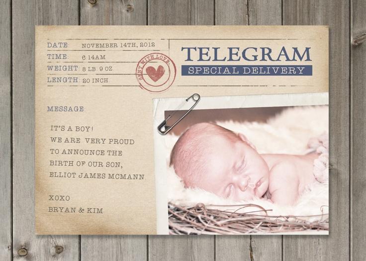 Printable blue vintage telegraph baby boy birth for Printable birth announcements