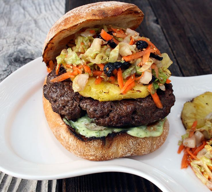 Jamaican Jerk Burger with Grilled Pineapple and Cabbage Salad ...