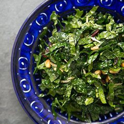 Raw Kale Salad with Balsamic, Pine Nuts, and Parmesan — Punchfork