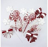 Decorative holiday tree picks red white ribbons sam s club