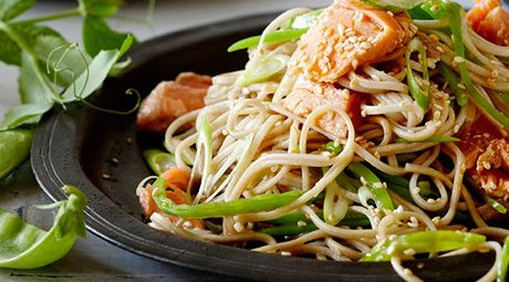 Salmon with Snow Peas and Soba Noodles | Vegetarian and Loving It | P ...