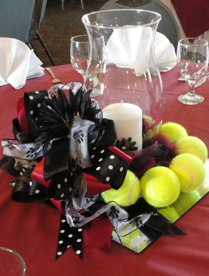 Tennis banquet centerpiece sports banquet pinterest for Athletic banquet decoration ideas