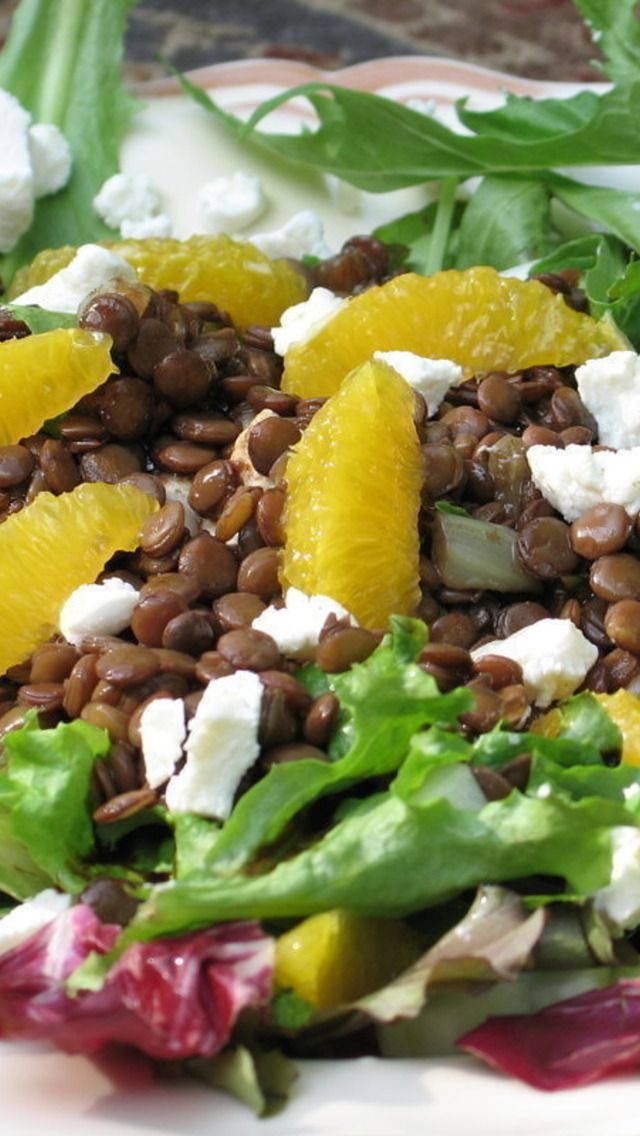 Lentil, Orange and Goat Cheese Salad with Warm Balsamic Dressing
