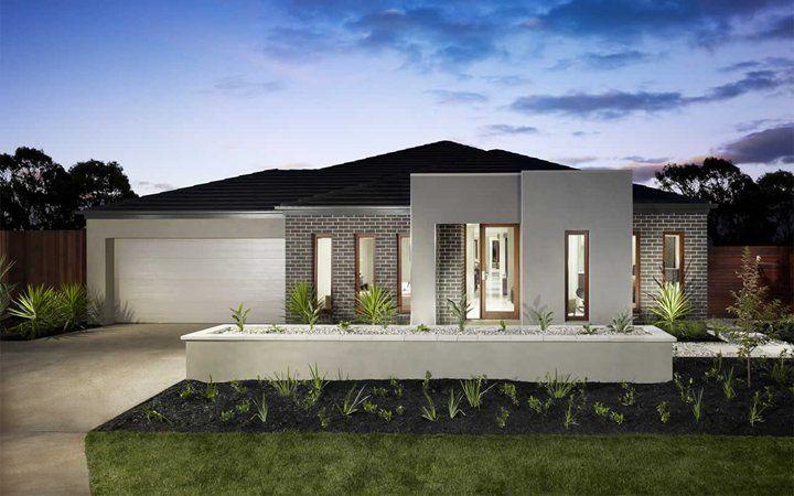 Lancaster contemporary facade metricon clunes house for Home designs metricon