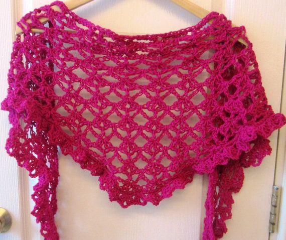 Crochet Pattern Lace Shawl Scarf Cowl Hood Wrap Shawlette
