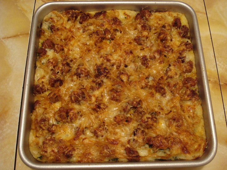 Potato, spinach, cheese, and sausage casserole