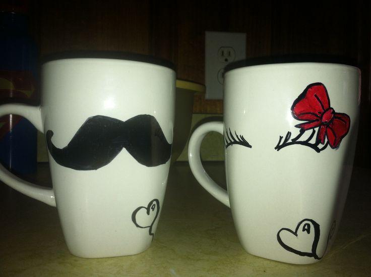 his and hers sharpie coffee mugs easy peasie pinterest. Black Bedroom Furniture Sets. Home Design Ideas