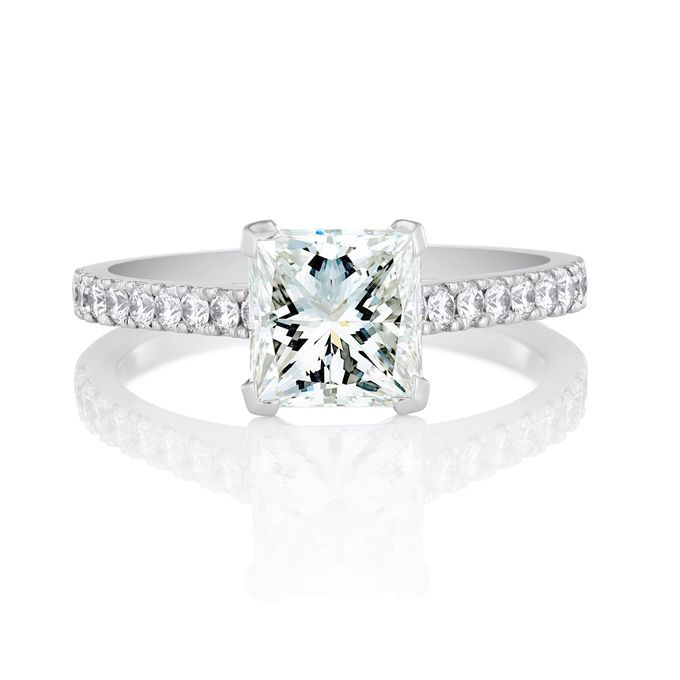 Princess-Cut Engagement Rings. Classic pavé princess-cut engagement ...