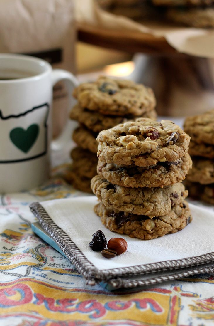 Cookies with hazelnuts, rolled oats, espresso, tart cherries and dark ...