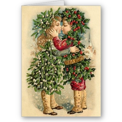 Victorian Christmas Kiss Card  Beautiful Vintage Cards with matching postage. Make your Holidays special with an old fashion Christmas Card. Vintage Seasons greetings. Vintage Christmas Cards from an era gone by, lovingly restored.