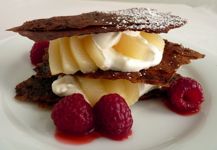Chocolate Phyllo Napoleons with Pear and Raspberries. // must make ...