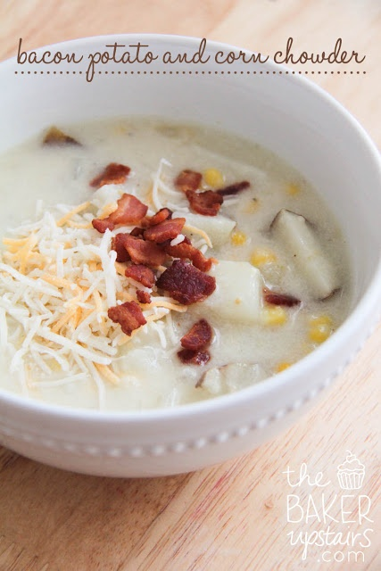 bacon potato and corn chowder - Love all of this chickie's recipes!